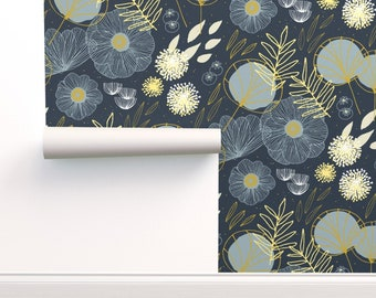 Plants Fresh Wallpaper - Spring Floral Navy Black By Friztin - Plants Custom Printed Removable Self Adhesive Wallpaper Roll by Spoonflower