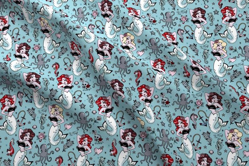 810795c8ae79 Vintage Mermaid Fabric Molly Mermaid By Miss Fluff By Miss