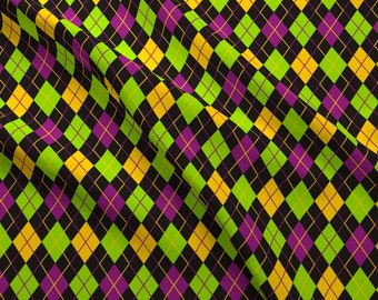 Argyle Fabric - Mardi Gras Fat Tuesday Black Argyle By Smuk - Mardi Gras Argyle Gold Green Purple Cotton Fabric By The Yard With Spoonflower