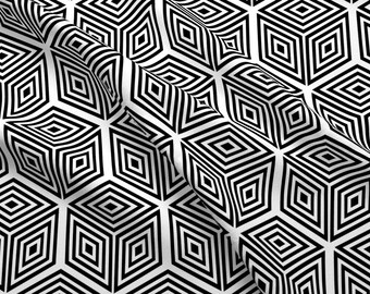 Optical Illusion Cubes Fabric - Crazy Cubes By Dearchickie - Black and White Geometric Modern Cotton Fabric By The Yard With Spoonflower