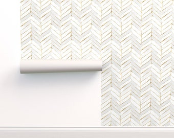 Chevron Wallpaper - Chevron Painted White Gold By Crystal Walen - GoldCustom Printed Removable Self Adhesive Wallpaper Roll by Spoonflower