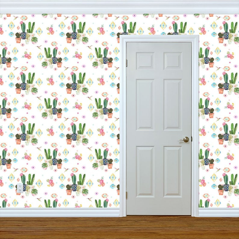Succulent Wallpaper Green Custom Printed Removable Self Adhesive Wallpaper Roll by Spoonflower 6 Valladolid Flowers Cactus By Shopcabin