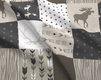 Wholecloth Fabric - Cheater Quilt - Canyon - Antlers Arrows Brown Tan And White By Sugarpinedesign - Fabric by the Yard With Spoonflower