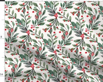 Mistletoe Floral Print Fabric - Mistletoe And Red Berries By Crystal Walen - Mistletoe Botanic Cotton Fabric By The Yard With Spoonflower