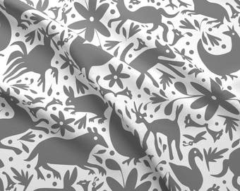 Grey Festive Otomi Fabric - Mexico Springtime Grey On White (Large Scale) By Sammyk - Otomi Cotton Fabric By The Yard With Spoonflower