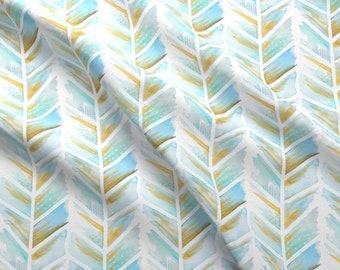 Watercolor Feather Chevron Fabric - Blue Mustard Gold Southwestern Boho Trend Baby By Emilysanford - Fabric By The Yard With Spoonflower