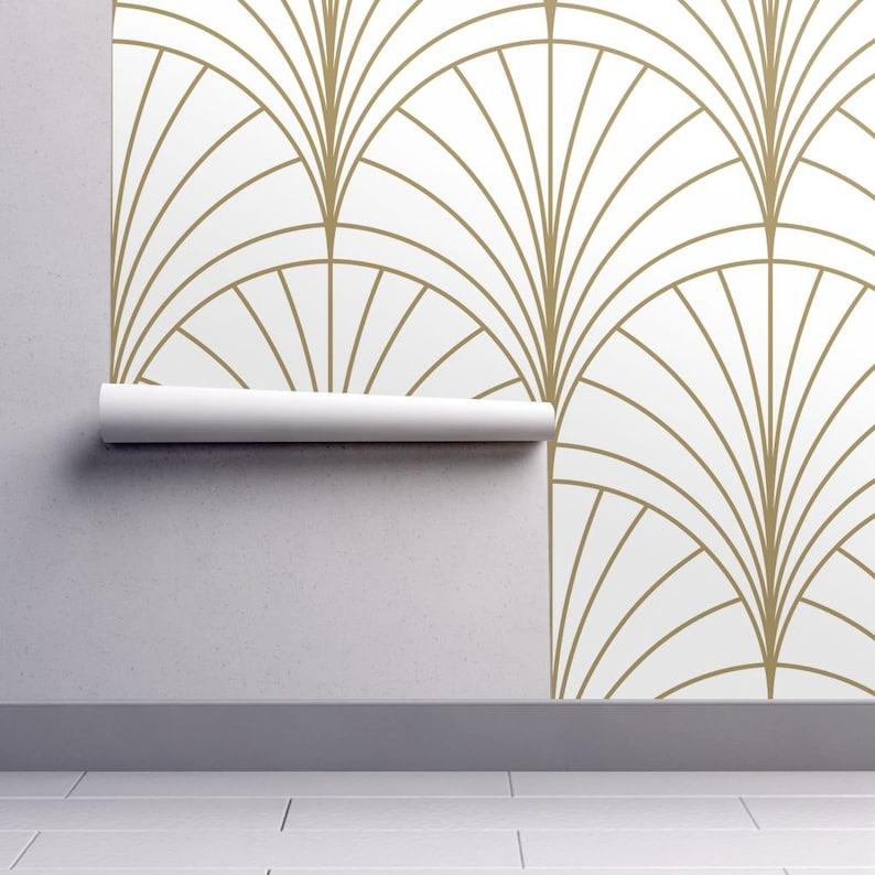 Art-Deco-Tapete - Burst-Gold auf weiß von Anvil Studio -  Art-Deco-individuell bedruckte abnehmbarer selbst Klebstoff Wallpaper Rolle  von Spoonflower