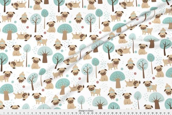 Cute Pug Linen Look Canvas Fabric Pugs Materials Fabrics Crafting Pet Dog Dogs