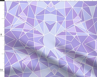Geometric Fabric - Purple Geometric Wall Large By Sewnbyfairies - Abstract Lilac Triangles Wall Cotton Fabric By The Yard With Spoonflower