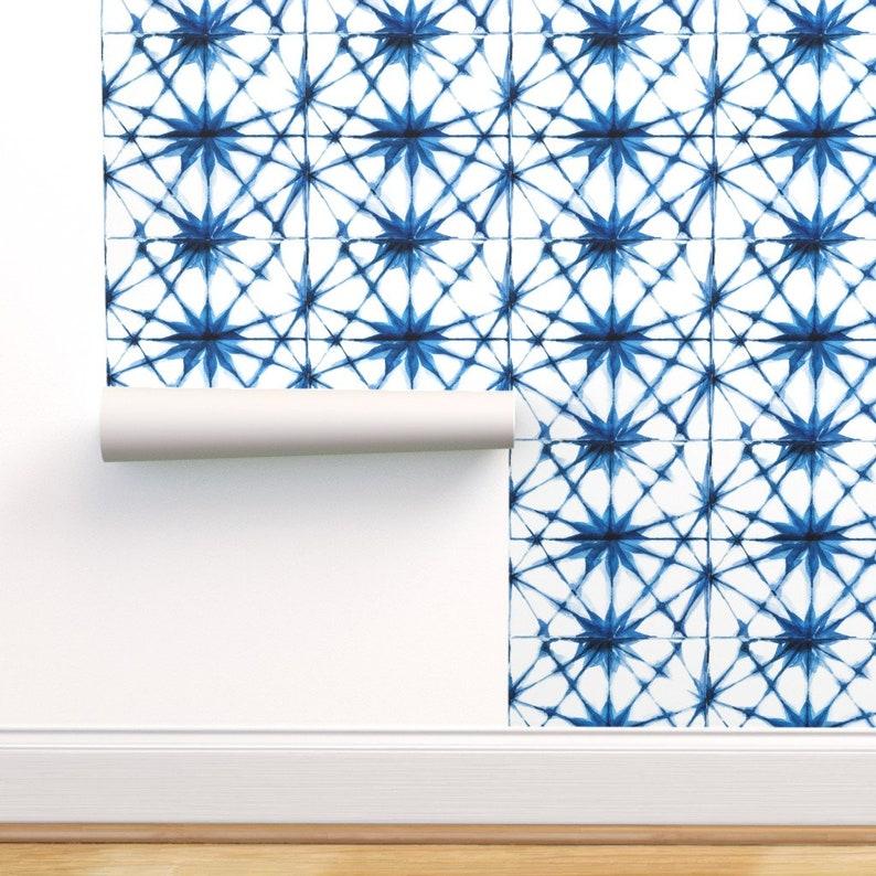 Shibori Wallpaper  Shibori Stars By Tasiania  Tie Dye Blue image 0