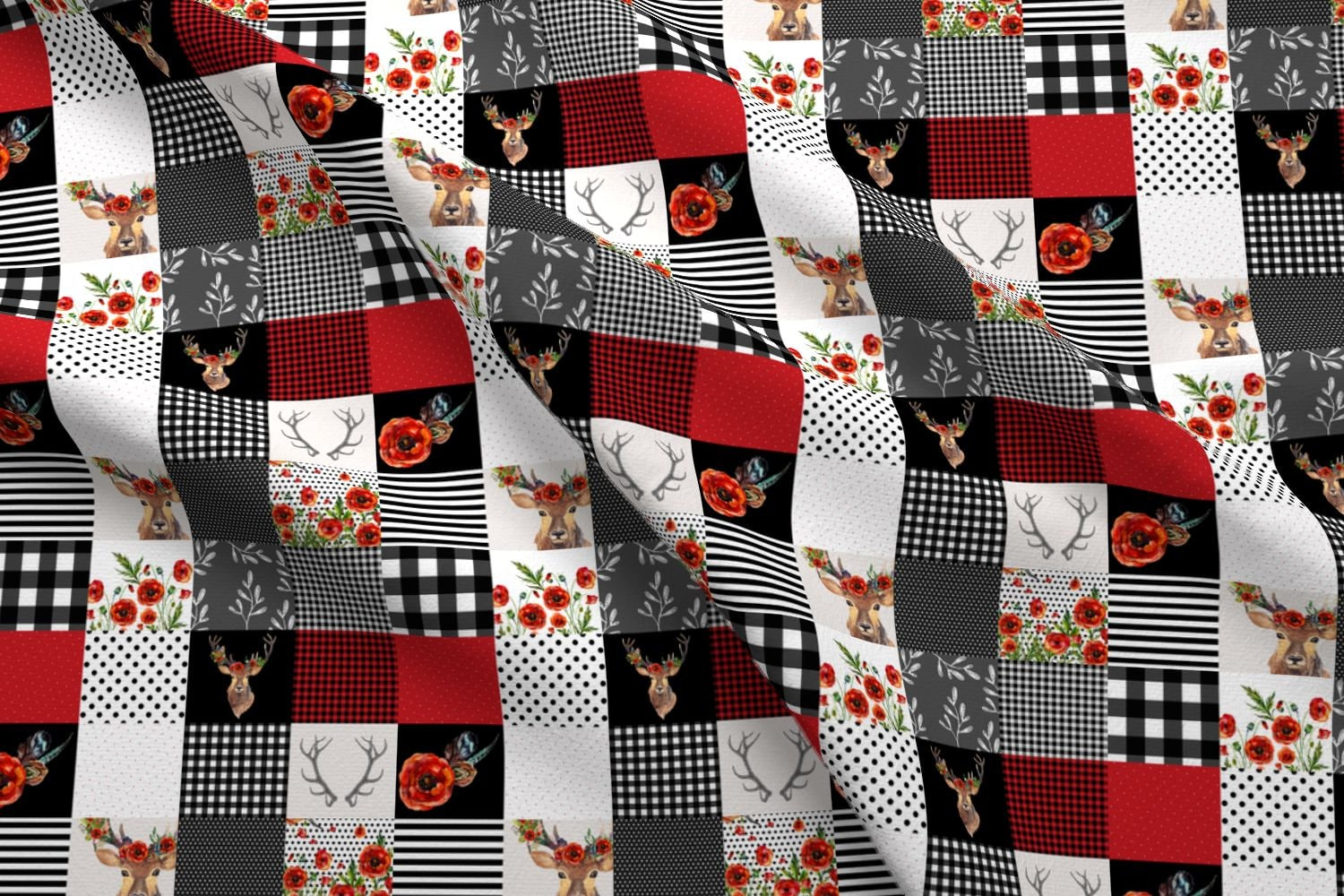 Cheater quilt fabric deer in love whole cloth quilt by shopcabin black and red woodland cotton fabric by the yard with spoonflower