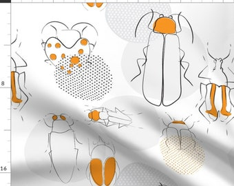 Mod Beetle Fabric - Beetles By Pragya K - Beetle Bug Insect Nature Gray Orange Modern Polka Dot Cotton Fabric By The Yard With Spoonflower