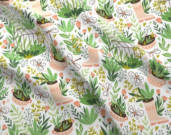 Happy Gardening Fabric - Happy Gardening By Alenkakarabanova - Gardening Plants Grow Boots Floral Cotton Fabric By The Yard With Spoonflower