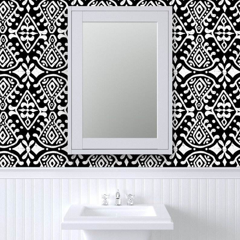 Zara Black And White Geometric Batik Jumbo Tribal Pattern