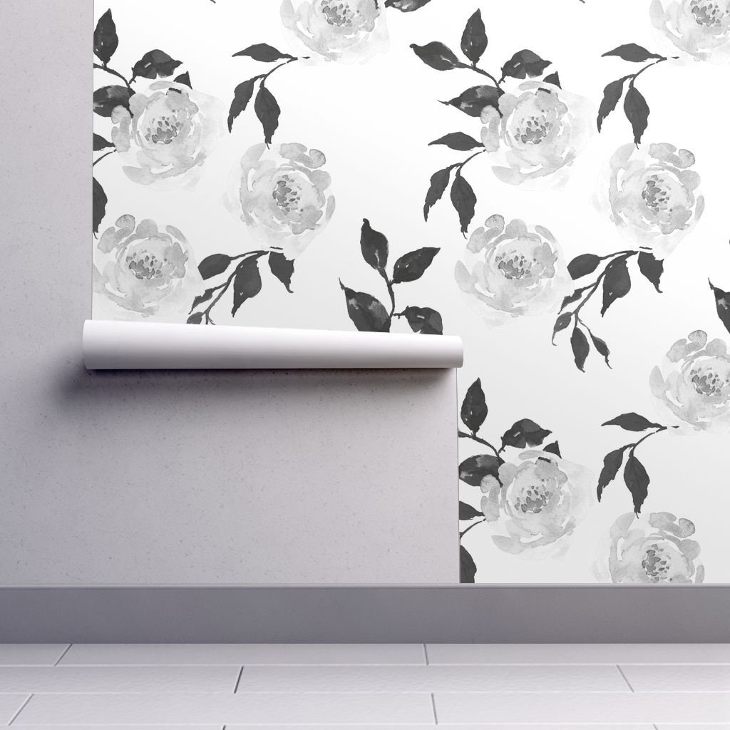 Floral Wallpaper Gypsy Heart Grey And White By Shopcabin Etsy