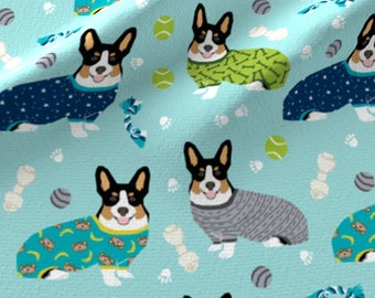 Corgi Fabric - Welsh Corgis In Pjs Tricolored Cute Puppy Sweater Adorable Design By Petfriendly - Cotton Fabric by the Yard With Spoonflower