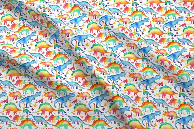 bf3e84615a274 Dinosaur Fabric Rainbow Watercolour Dinosaurs Small Scale | Etsy