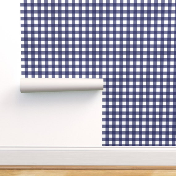 Delft Check By Ragan Plaid Modern Home Decor Custom Printed Removable Self Adhesive Wallpaper Roll by Spoonflower Blue Plaid Wallpaper