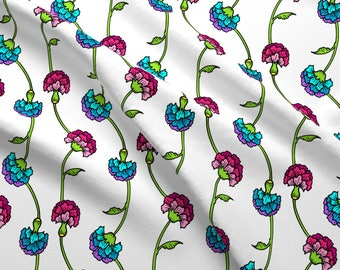 Carnation Fabric - Carnation Brights By Jadegordon - Carnation Pink Blue Floral Spring Flowers Cotton Fabric By The Yard With Spoonflower