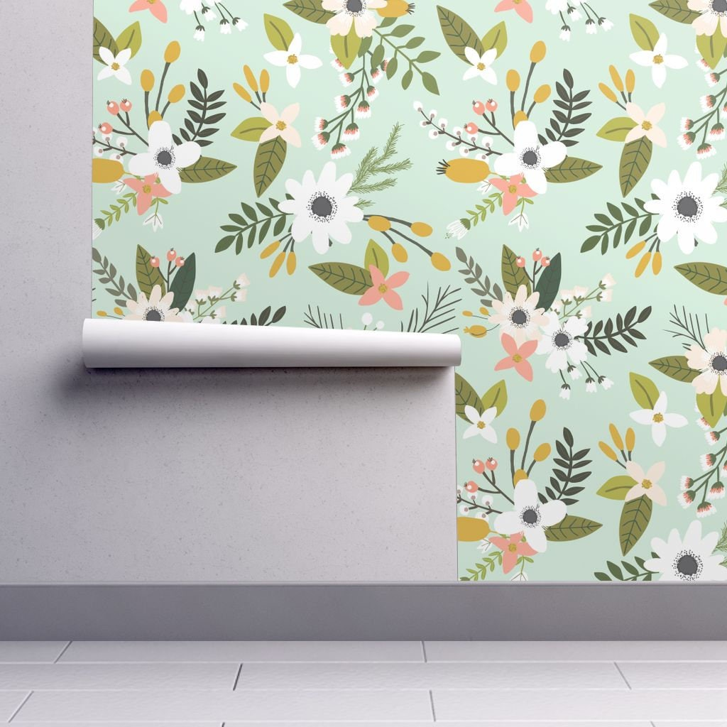 Floral Wallpaper On Mint Mint Sprigs And Blooms Oversized By Elizabeth Ivie Removable Self Adhesive Wallpaper Roll By Spoonflower