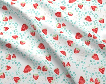 Strawberry Summert Watercolor Fabric - Strawberry Gold By Emilysanford - Watercolor Strawberries Cotton Fabric By The Yard With Spoonflower