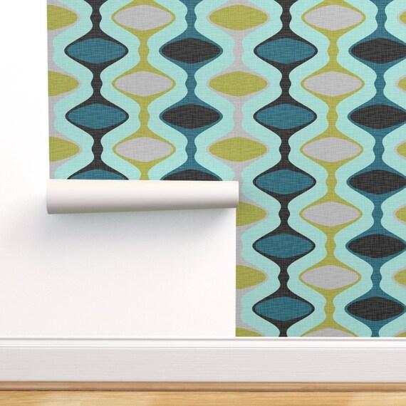 Mid Century Modern Wallpaper 60s Ogee Stripe By Fernlesliestudio Custom Printed Removable Self Adhesive Wallpaper Roll By Spoonflower