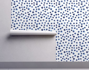 Watercolor Wallpaper - Blue Brushstroke Dot By Katerinaizotova - Indigo Custom Printed Removable Self Adhesive Wallpaper Roll by Spoonflower