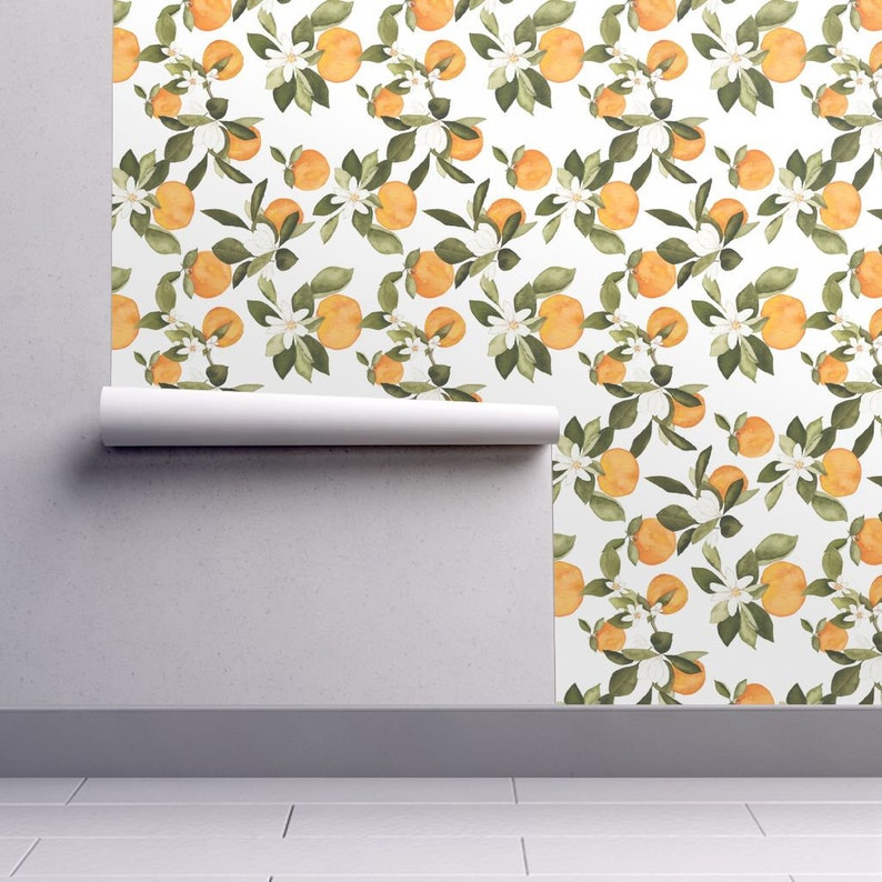 Orange Fruit Wallpaper   Orange Blossom 2 By Mintpeony  Fruit Kitchen  Custom Printed Removable Self Adhesive Wallpaper Roll By Spoonflower