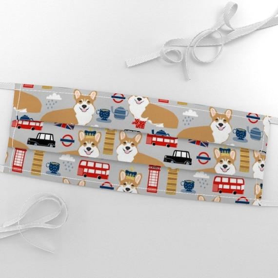 100/% COTTON  Fabric London UK BIG BEN UNION JACK CORGI DOG Material CRAFTS