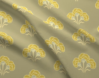 Nature Fabric - Carnation Trio Ochre By Cindylindgren - Nature Floral Carnations Ochre Vintage Cotton Fabric By The Yard With Spoonflower