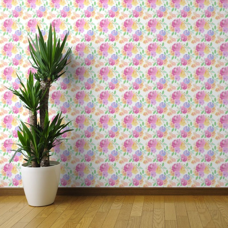 Custom Printed Removable Self Adhesive Wallpaper Roll by Spoonflower Sweet Sugar by Indy Bloom Design Watercolor Floral Wallpaper