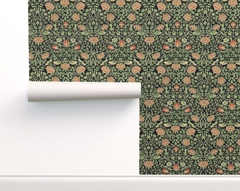Nouveau Wallpaper - Tudor Roses By Amyvail - Morris Inspired Sage Black Pink Removable Self Adhesive Wallpaper Roll by Spoonflower