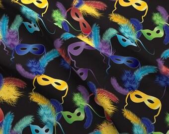 Mardi Gras Fabric - Mardi Gras Masks By Kociara - Mardi Gras Masquerade Masks Green Purple Black Cotton Fabric By The Yard With Spoonflower