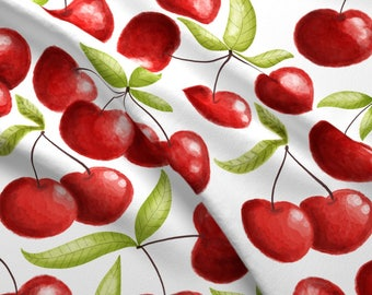Fruits Fabric - Cherry Love By Gnoppoletta - Cherry Cherries Whimsical Watercolor Fruits Fabric With Spoonflower