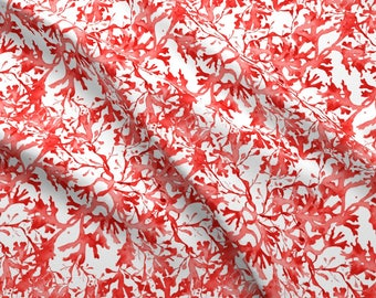 Nautical Watercolor Fabric - Seaweed In Coral By Joanmclemore - Watercolor Home Decor  Cotton Fabric By The Yard With Spoonflower