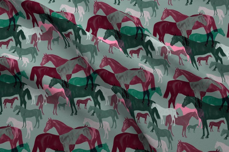 0760f650fd9 Abstract Horse Fabric Victorian Horses By Dogdaze Abstract | Etsy