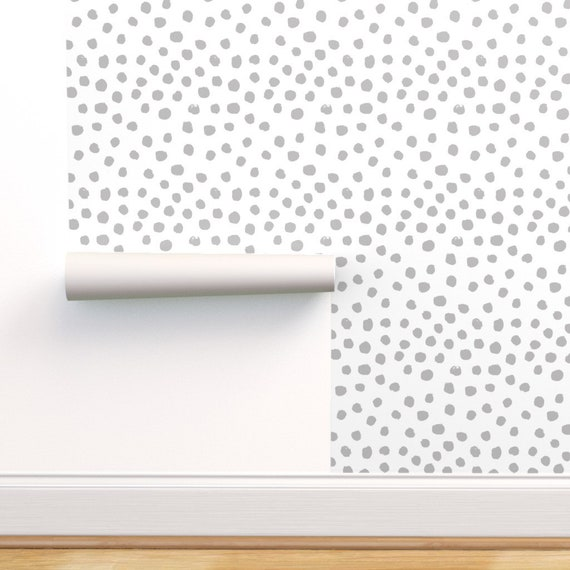 Gray Dots Wallpaper Dots Grey Minimal Spots By Charlottewinter Dots Custom Printed Removable Self Adhesive Wallpaper Roll By Spoonflower