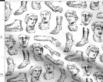 Sculpture Fabric - Classical Sculptures By Far Away Lightning - White Black Gray Bodies Male Cotton Fabric By The Yard With Spoonflower