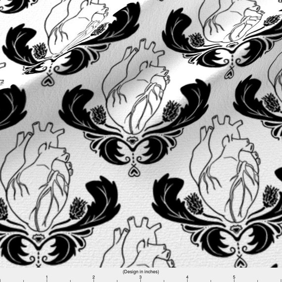 Anatomical Heart Fabric Hearts Thistles By Pi Ratical Heart Damask Anatomy Black And White Cotton Fabric By The Yard With Spoonflower