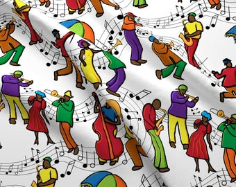 Mardi Gras Music Fabric - Jazzy Mystical Music Krewe By Vo_Aka_Virginiao - New Orleans Mardi Gras Cotton Fabric By The Yard With Spoonflower