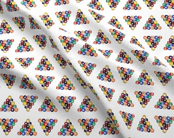 Pool Fabric - Eight Ball Racked By Thin Line Textiles - Pool Billiards Games Solids Stripes Cotton Fabric By The Yard With Spoonflower