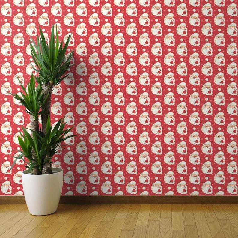 Custom Printed Removable Self Adhesive Wallpaper Roll by Spoonflower Vintage Santa Wallpaper Christmas Red Vintage By Parisbebe Santa