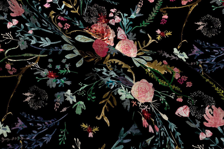 Dark Floral Fabric Fable Black Jumbo By Nouveau Etsy Mooi Printing Premium Sweater Top Unicorn Size M