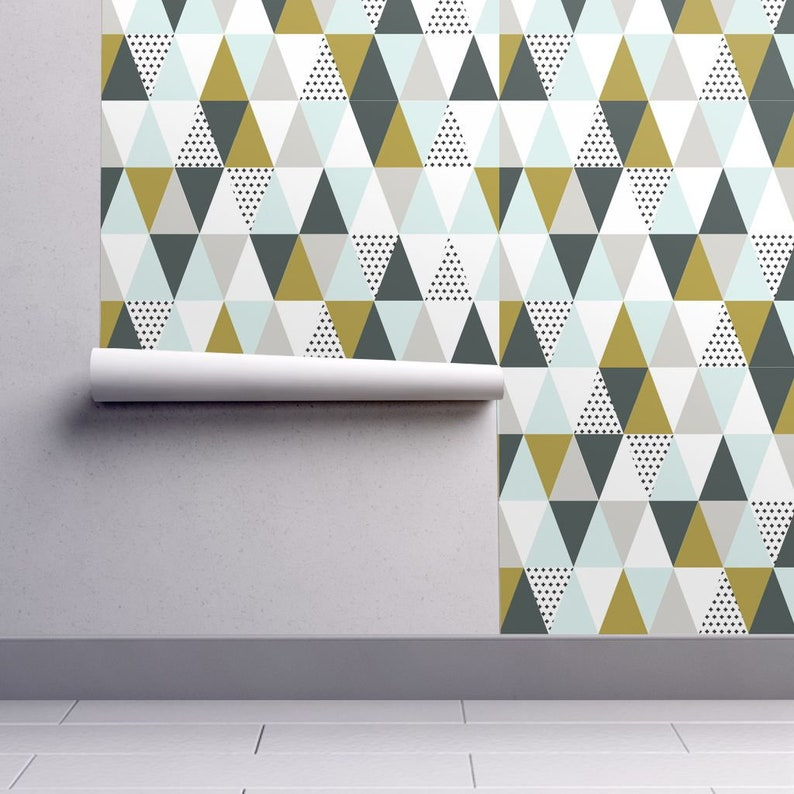 Custom Printed Removable Self Adhesive Wallpaper Roll by Spoonflower Triangles Mint Mustard By Cassiekulp@Gmail Com Triangle Wallpaper