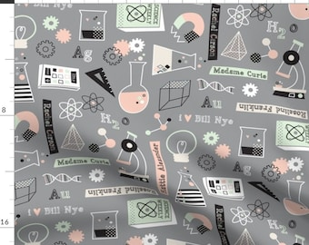 Science Fabric - She Blinded Me With Science! By Amel24 - School Kids Cotton Fabric By The Yard With Spoonflower