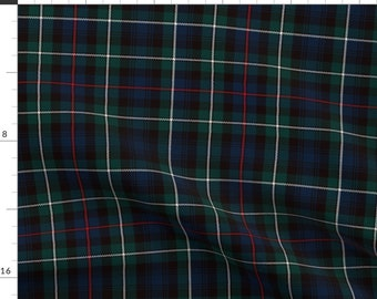 Highland Fabric - Mackenzie Tartan Plaid By Laurawrightstudio - Scottish Highland Plaid Green Red Cotton Fabric By The Yard With Spoonflower