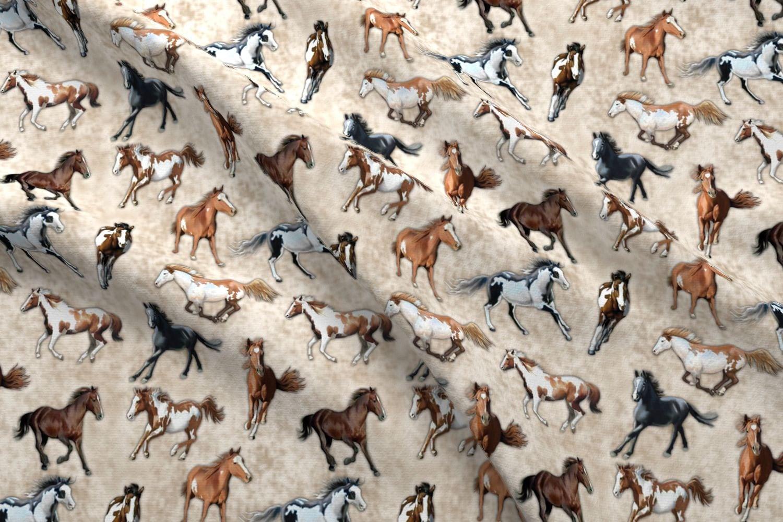 6b99de24735 Horse Fabric Horse Stampede By Bhymer Horse Stampede Cowboy | Etsy