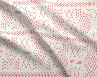 Moroccan Fabric - Vintage Moroccan Vintage Red By Littlearrowdesign - Moroccan Modern Mud-cloth Cotton Fabric By The Yard With Spoonflower