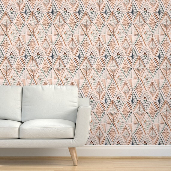 Feathered Diamond By Crystal Walen Indigo White Custom Printed Removable Self Adhesive Wallpaper Roll by Spoonflower Deco Wallpaper