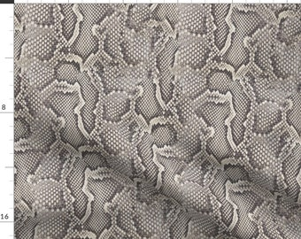 Python Snake Skin Animal Pattern Fabric - Python Gray By Willowlanetextiles - Python Snakes Cotton Fabric By The Yard With Spoonflower